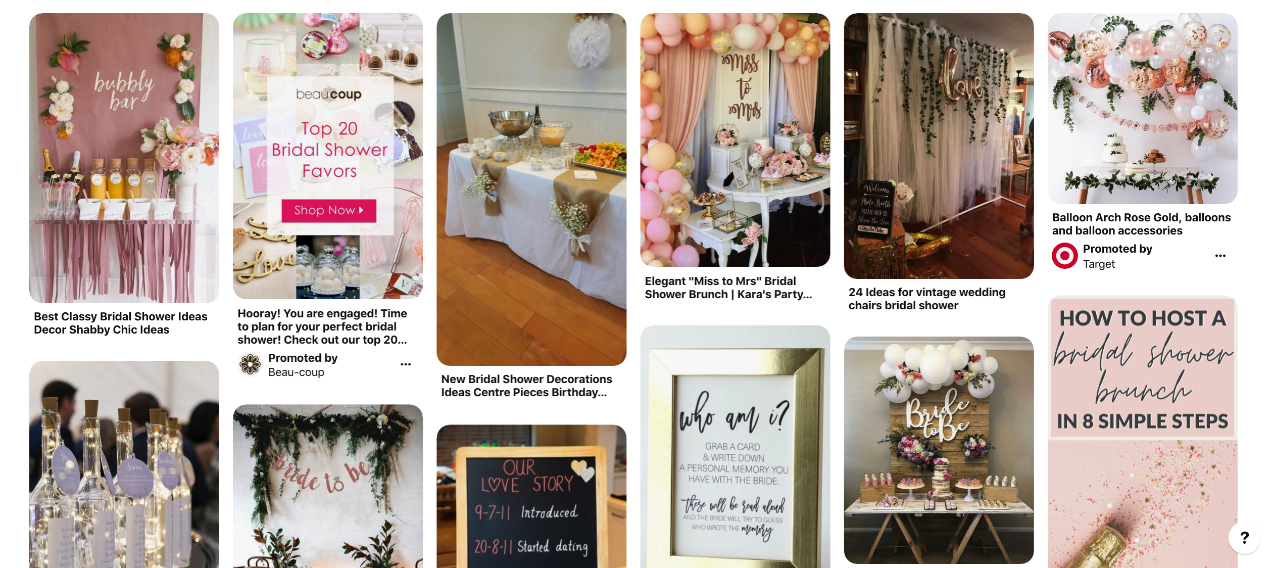 Bridal shower packages
